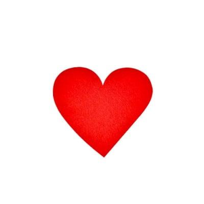 Деко фигурка сърце симетрично, Filz, 50 mm, червено