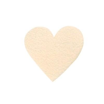 Деко фигурка сърце симетрично, Filz, 50 mm, кремаво
