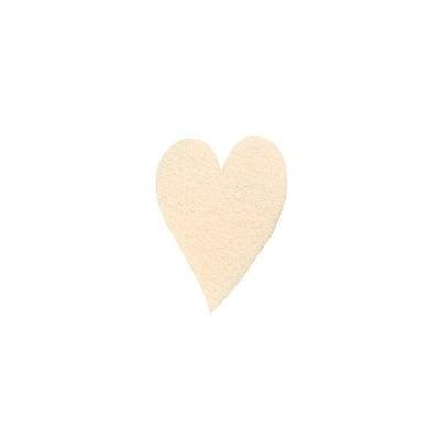 Деко фигурка сърце удължено, Filz, 30 mm, кремаво