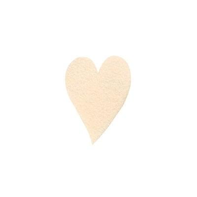 Деко фигурка сърце удължено, Filz, 40 mm, кремаво