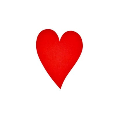 Деко фигурка сърце удължено, Filz, 60 mm, червено