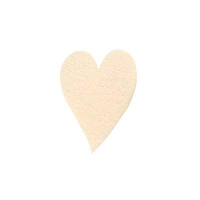 Деко фигурка сърце удължено, Filz, 60 mm, кремаво