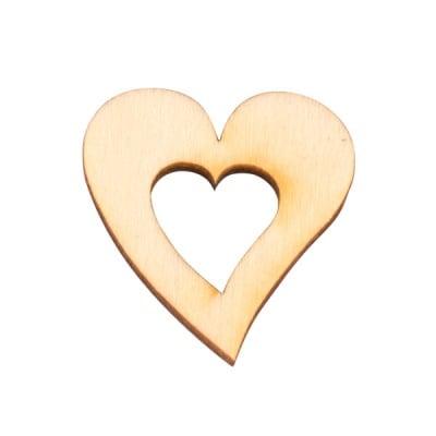 Деко фигурка сърце в сърце, дърво, 40 mm