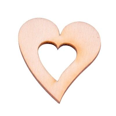 Деко фигурка сърце в сърце, дърво, 50 mm