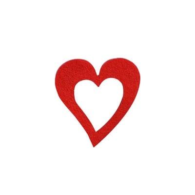 Деко фигурка сърце в сърце, Filz, 35 mm, червено