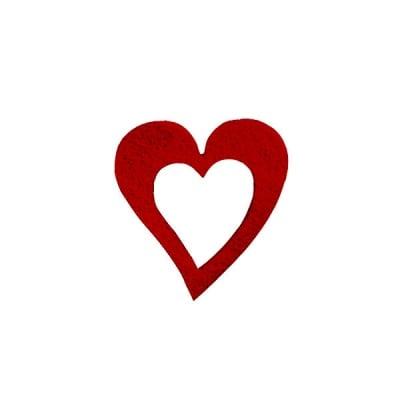 Деко фигурка сърце в сърце, Filz, 35 mm, кафяво