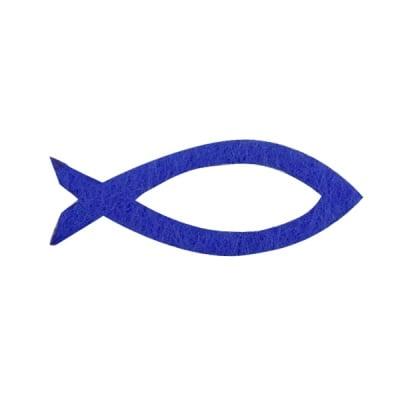 Деко фигурка силует на рибка, Filz, 30 mm, турско синя