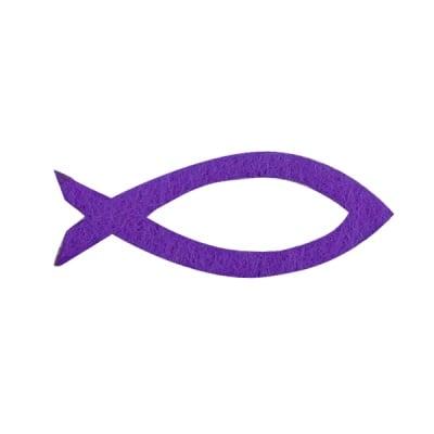 Деко фигурка силует на рибка, Filz, 30 mm, виолетова