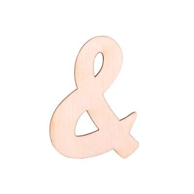 """Деко фигурка символ """"&"""", дърво, 19 mm"""