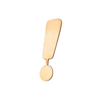 """Деко фигурка символ """"!"""", дърво, 19 mm"""
