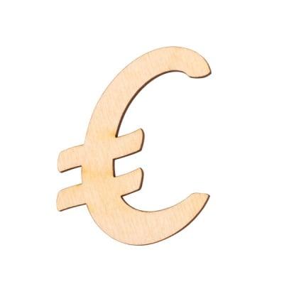 """Деко фигурка символ """"€"""", дърво, 28 mm"""