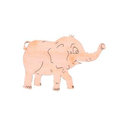 Деко фигурка слонче, дърво, 30 mm