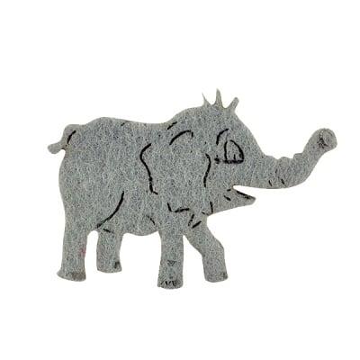 Деко фигурка слонче, Filz, 40 mm, светло сиво