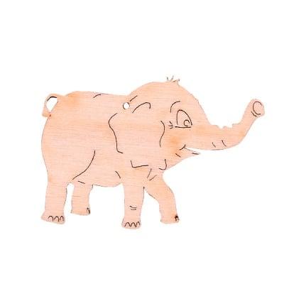 Деко фигурка слонче с отвор, дърво, 40 mm