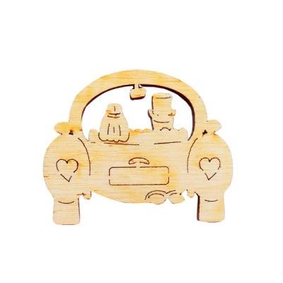 Деко фигурка сватбена кола, дърво, 50 mm