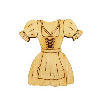 Деко фигурка тиролска рокля, дърво, 20 mm