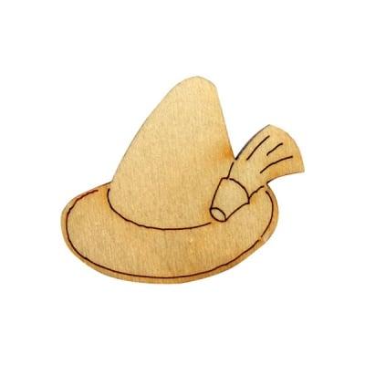 Деко фигурка тиролска шапка, дърво, 30 mm