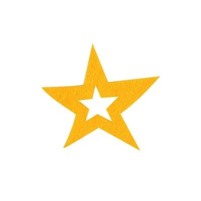 Деко фигурка звезда в звезда, Filz, 40 mm, светло жълта