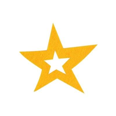 Деко фигурка звезда в звезда, Filz, 60 mm, светло жълта