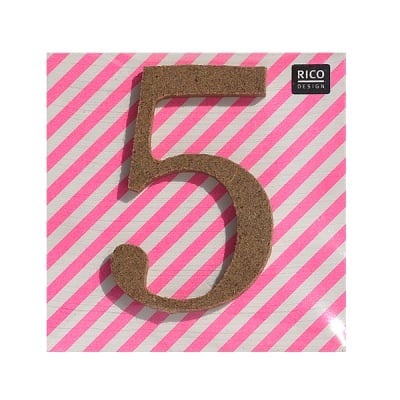 "Декоративен символ RicoDesign, ""5"", MDF, 4,1x2,7 cm"
