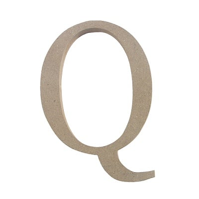 "Декоративен символ RicoDesign, ""Q"", MDF, 5,0X3,6 cm"