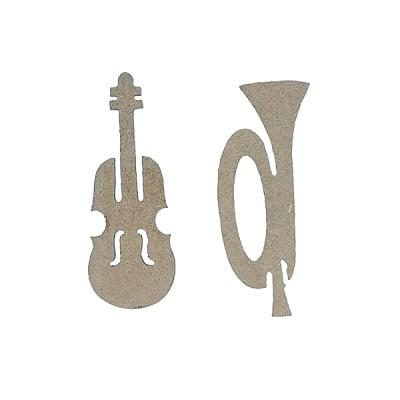 Декоративна фигура RicoDesign, ТРОМПЕТ И ВИОЛА, MDF, 9.5/4/0.5 cm
