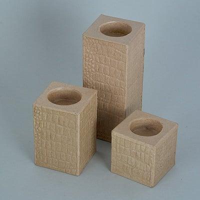 Декоративна поставка от папие маше, с ефект крокодилска кожа, ф 6 x 6 x 6 / 9 / 15 см, 3 бр.