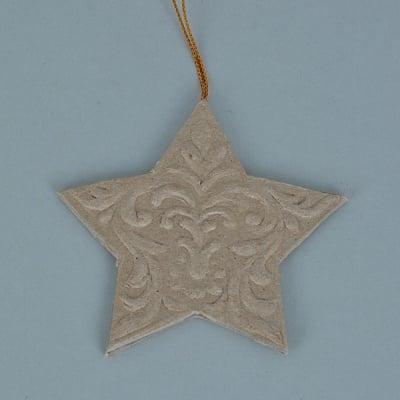 Декоративна висулка от папие маше, звезда с орнаменти, 8 x 8 x 0,3 cm