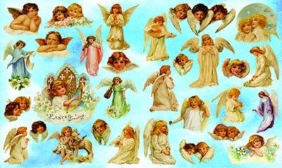 Декупажна хартия, 60 gr/m2, 33 x 48 cm, 1л, Ангелчета