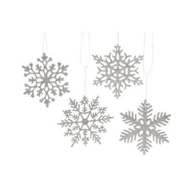 Комплект снежинки за декорация, пластмаса, 4 бр, сребристи