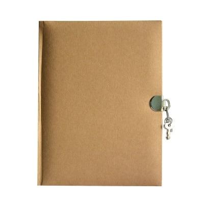 Дневник с ключалка, 21 х 16 см, 70 листа, кафяв