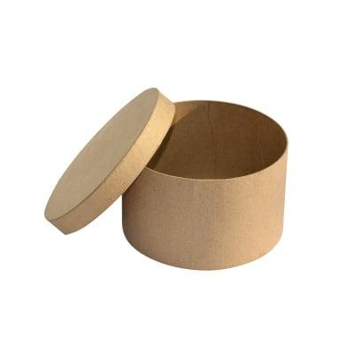Кутия от папие маше, кръгла, S, 14 x 7,5 cm