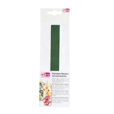 Восъчни ленти, кръгли, 200 x 2 mm, 10 бр., светлозелени