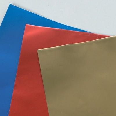 Алуминиево фолио, 20 х 30 см / 0,15 мм, 3 бр., златно, синьо, червено