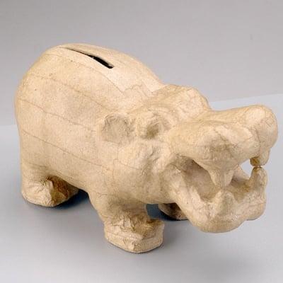 Фигура от папие маше, хипопотам-касичка, 17,5 x 8 x 9 cm