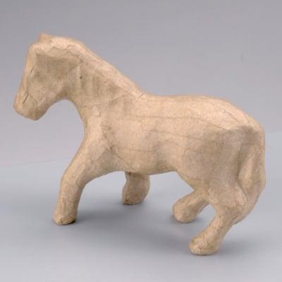 Фигура от папие маше, кон, 12,5 x 4,5 x 9 cm