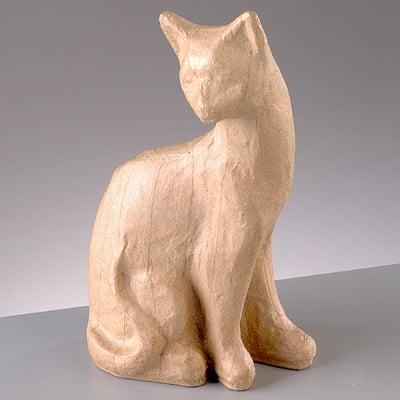 Фигура от папие маше, котка 1, 11 x 6 x 19,5 cm