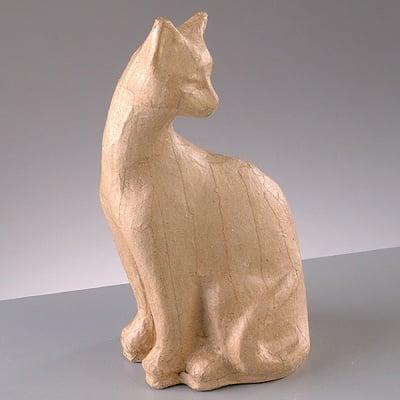 Фигура от папие маше, котка 2, 9 x 8 x 19,5 cm
