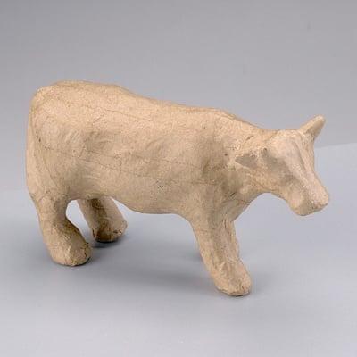 Фигура от папие маше, крава, 13 x 4,5 x 8,5 cm