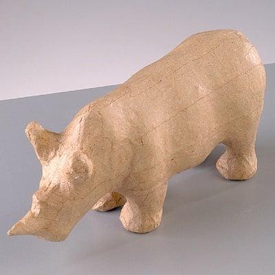 Фигура от папие маше, носорог, 15,5 x 5 x 7,5 cm