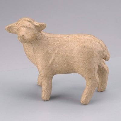 Фигура от папие маше, овца 10 x 4 x 8,5 cm