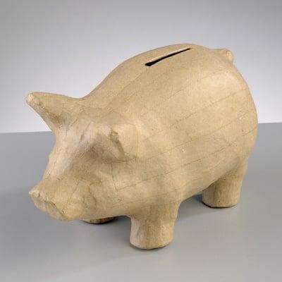 Фигура от папие маше, прасенце-касичка, 16,5 x 8 x 10 cm