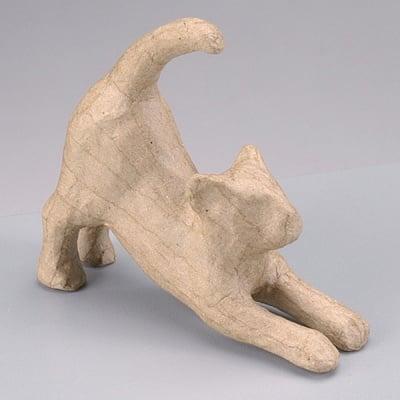 Фигура от папие маше, протягаща се котка, 11 x 3,5 x 10,5 cm