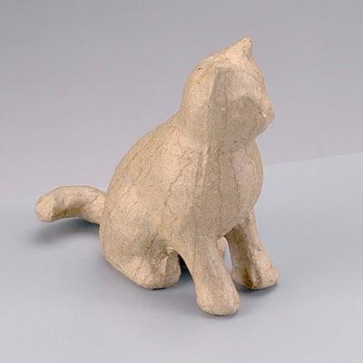 Фигура от папие маше, седяща котка, 9 x 4 x 9 cm