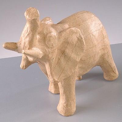 Фигура от папие маше, слон, 15 x 6,5 x 15 cm