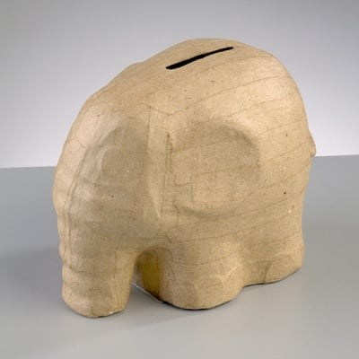 Фигура от папие маше, слонче-касичка,12,5 x 8 x 11 cm