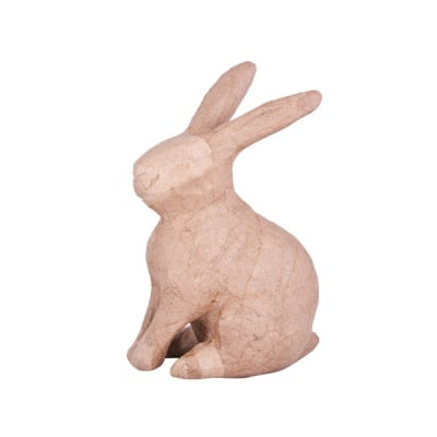 Фигура папиемаше, седнало зайче , 15 х 9 х 6 см