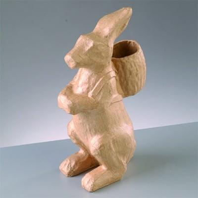 Фигура папиемаше, заек с кошница, 11.5 х 6.5 х 21 см