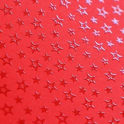Фото картон с орнаментен лак, 220 g/m2, 47 x 69 cm, 1л, червен със звезди