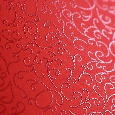 Фото картон с орнаментен лак, 220 g/m2, 47 x 69 cm, 1л, минг червен